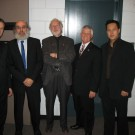 Alexander Mickelthwate, Winnipeg Symphony Orchestra conductor; Jacques Hétu, composer; R. Murray Schafer, composer; Lloyd; Vincent Ho, composer; back stage during Winnipeg's New Music Festival, 2008
