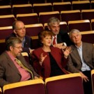 Seated in the Chan Centre: (L - R) Don Mowatt, Dr. Allan Young, Professor Nancy Hermiston,  Dr. A.P.Zis and Lloyd Burritt - Photos by Martin Dee for UBC Medicine Magazine. Reproduced with permission.